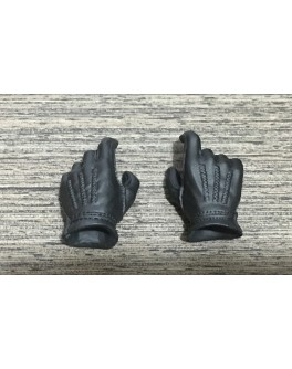 Custom 1/6 Scale Black Gloved Hands Compatible with Hot Toys Male Figure Body