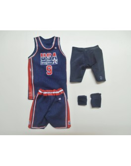 Custom 1/6 Scale Michael Jordan Blue Dream Team Jersey Suit For Enterbay Body