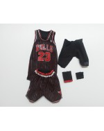 Custom 1/6 Scale Jordan Chicago Bulls Black Stripe Jersey Suit For Enterbay Body