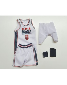 Custom 1/6 Scale Michael Jordan White Dream Team Jersey Suit For Enterbay Body