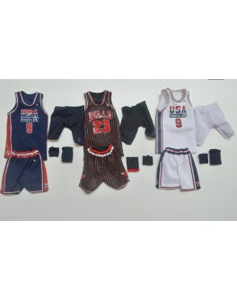 Custom 1/6 Scale Set of 3 Michael Jordan Jersey For Enterbay NBA FIgure Body