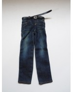 Custom 1/6 Scale Slim Fit Washed Jeans with Belt Tailored on Hot Toys TTM21 Body