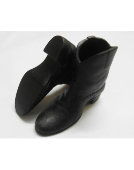Custom 1/6 Scale Weathering Effect Black Cowboy Boots / Work Boots