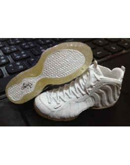 1/6 Scale CUSTOM FOAMPOSITE ONE WHITE OUT BASKETBALL SHOES