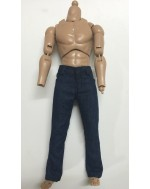 Custom 1/6 Scale Slim Fit Straight Blue Jeans A For Hot Toys Regular Type Body