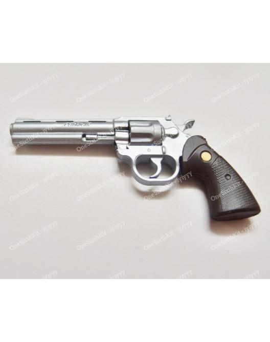 1//6 Scale Toy Walking Dead Sheriff Rick Grimes Silver 357 Magnum Revolver Pistol