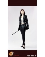 POPTOYS 1/6 F15A The Nikita female agents leather coat suit in black