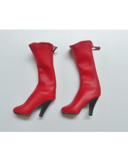 ZYToys1/6 Red Leather Medium long Boot