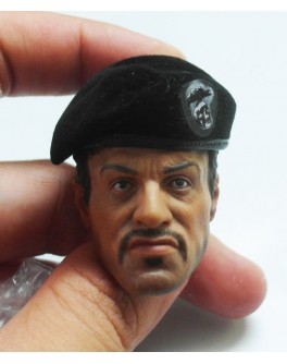 OSK1405174 Custom 1/6 Male Head Sculpt + Hot Toys Original Expandable Black Beret Cap